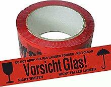 Paketband 12 Rollen rot Vorsicht Glas Klebeband
