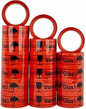 Paketband Klebeband VORSICHT GLAS Extra Stark 50