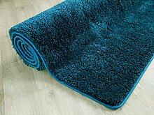 Palace Hochflor Shaggy Teppich Petrol Grün Blau
