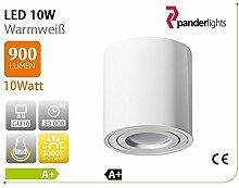 PALERMO Aufbaustrahler Deckenlampe Deckenleuchte Strahler mit 10W LED SMD Würfel Qube Downlight (Rund Weiß, 10 Watt)
