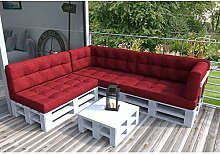 Palettenkissen Palettenmöbel Ecksofa Couch Sitzecke inkl. Europalette Palettensofa Palettenpolster Kissen Sofa Polster Indoor Outdoor (Rot)