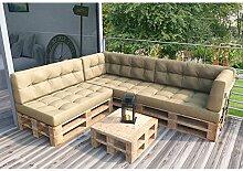 Palettenkissen Palettenmöbel Ecksofa Couch Sitzecke inkl. Europalette Palettensofa Palettenpolster Kissen Sofa Polster Indoor Outdoor (Beige)