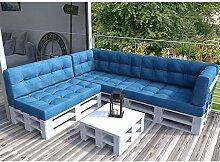 Palettenkissen Palettenmöbel Ecksofa Couch Sitzecke inkl. Europalette Palettensofa Palettenpolster Kissen Sofa Polster Indoor Outdoor (Blau)