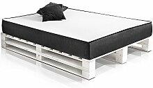 PALETTI Massivholzbett DUO Holzbett Palettenbett Bett aus Paletten in 160 x 200 cm weiß, 160 x 200 cm, Fichte weiss