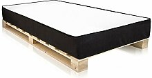 PALETTI Massivholzbett inkl. MOODY Komfort Matratze mit Memory-Schaum Holzbett Palettenbett Bett aus Paletten in 140 x 200 cm Fichte natur