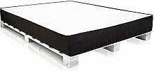 PALETTI Massivholzbett inkl. MOODY Komfort Matratze mit Memory-Schaum Holzbett Palettenbett Bett aus Paletten in 160 x 200 cm Fichte weiß, 160 x 200 cm, Fichte weiss