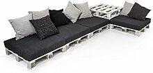 PALETTI Sofalandschaft II Sofa Couch Lounge Gartenmöbel Fichte weiss, Fichte weiss