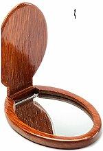 Palisander Bench klappbare tragbare Handspiegel Mahagoni Spiegel-B
