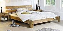 Palisander Holz Möbel massiv geölt Bett 160x200 Sheesham Massivmöbel Holz massiv braun Nature Brown #511