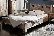 Palisander Massivmöbel Bett 140x200 Sheesham Holz massiv Nature Grey #203