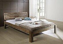 Palisander Massivmöbel Bett 160x200x85 Sheesham Holz massiv Nature Grey #191