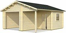 Palmako Blockbohlen-Garage Roger 21,9 44 mm natur