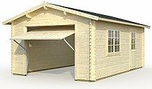 Palmako Blockbohlen-Garage Roger 23,9 44 mm natur