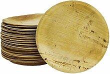 Palmblatt-Teller, rund, braun, 38