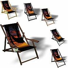 Palme Hängematte - Liegestuhl bedruckt Balkon Garten Sonnenliege Relax Holz Terrasse, Variante:Aluminium. Schwarz