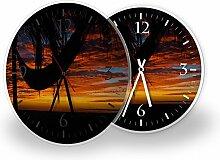 Palme Hängematte - Moderne Wanduhr mit Fotodruck auf Polycarbonat | Fotouhr Bilderuhr Motivuhr Küchenuhr modern hochwertig Quarz, Variante:30 cm rund mit schwarzen Zeigern