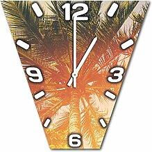 Palmen, Design Wanduhr aus Alu Dibond zum Aufhängen, 30 cm Durchmesser, schmale Zeiger, schöne und moderne Wand Dekoration, mit qualitativem Quartz Uhrwerk