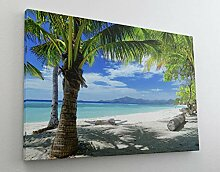 Palmen Meer Strand Beach Karibik Leinwand Bild