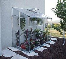 Palram Aluminium Anlehngewächshaus Gartenhaus Lean To 8x4 Silber // 244x124,5x225 cm (LxBxH); Treibhaus & Tomatenhaus zur Aufzuch