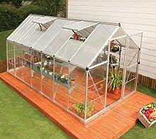 Palram Aluminium Gewächshaus Gartenhaus Hybrid 6x14 Silber // 430x185x209 cm (LxBxH); Treibhaus & Tomatenhaus zur Aufzuch