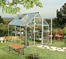 Palram Aluminium Gewächshaus Gartenhaus Hybrid 6x8 Silber // 250x185x209 cm (LxBxH); Treibhaus & Tomatenhaus zur Aufzuch