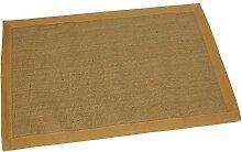 PAME 63904 Jute-Teppich mit Bordüre in Beige, 100 x 70 cm