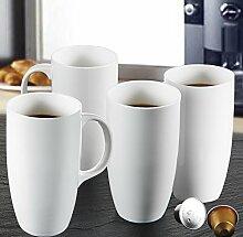 Panbado 2-teilig Große Kaffeetassen aus Weiß
