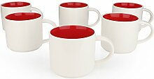 Panbado 6-teilig Set Porzellan Kaffeepott, 360 ml
