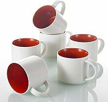 Panbado, 6-teilig Set Porzellan Kaffeepott, 360 ml