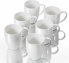 Panbado 6 TLG. Kaffeetassen aus Porzellan, Weiß