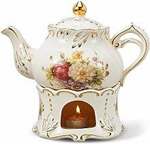 Panbado Elfenbein Porzellan 850 ml Kaffeekanne mit