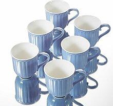 Panbado Kaffeetassen 6-teilig Set aus Porzellan,