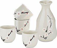Panbado Porzellan Japanisch Sake Set, 5-teilig