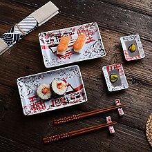 Panbado, Porzellan Japanisch Sushi Set, 8-teilig