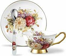 Panbado, Porzellan Kaffee Set, Floral Kaffeetasse