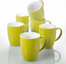 Panbado, Porzellan Kaffeetassen 370 ml, 6 TLG. Set
