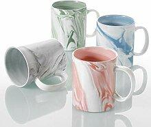 Panbado, Porzellan Kaffeetassen 4 TLG. Set, Bunte