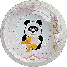 Panda 4 Stück Schranktürgriffe, Rundgriffe,