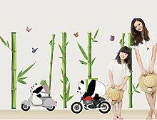 Panda Bambus Wandtattoo House Aufkleber abnehmbarer Wohnzimmer Tapete Schlafzimmer Küche Art Bild Wandmalereien Sticks PVC Fenster Tür Dekoration + 3D Frosch Auto Aufkleber Geschenk