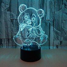 Panda Essen Bambus 3D Nachtlicht Bunte Visuelle