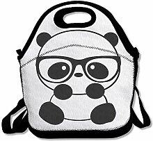 Panda Glasses Portable Lunch Box Tote Bag Rugged