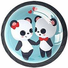 Panda Paar Schrankknöpfe aus ABS-Glas, rund, 4