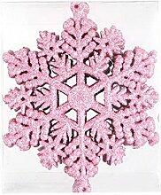 PANDA SUPERSTORE 3 Kästen Plastik glitzerte Schneeflocken-Weihnachtsbaum-Partei-Fenster-Verzierungen, Rosa