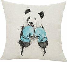 Panda Tier Druck Leinen Quadrat Kissenbezug Sofa Kissenhülle Home Dekor 45x45cm