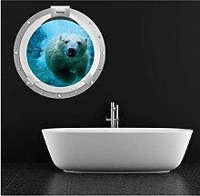 PANDABOOM Eisbär 3D Bullauge Wandaufkleber