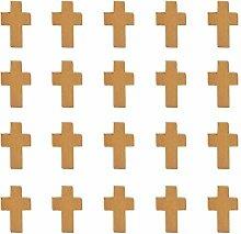PandaHall 50pcs Anhänger Kreuz Holz Charms, um