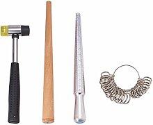 PandaHall Elite & reg Ring Messwerkzeug-Sets, installierbare Zwei-Wege-Gummihämmer, Holz-Ring Sizer Professional Modell, Gemischte Farbe