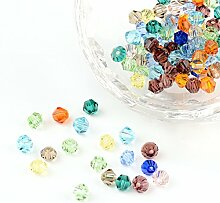 PandaHall Mischfarbe Bicone Faceted Glass Crystal