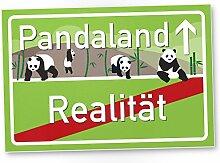 Pandaland - Panda Kunststoff Schild, kleines