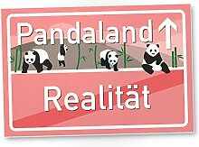 Pandaland rosa - Panda Kunststoff Schild, kleines